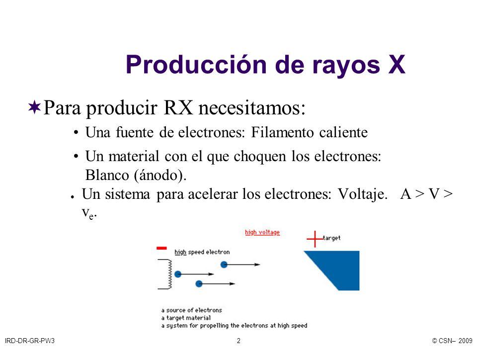 IRD-DR-GR-PW3© CSN– 200913 Efecto anódico o efecto talón La intensidad de radiación que se emite por el lado del ánodo es menor que la que se emite por el del cátodo por distintos motivos: Inverso del cuadrado de la distancia Distinto espesor de absorbente atravesado (vidrio de la ampolla, aceite, etc.).