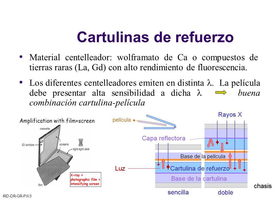 IRD-DR-GR-PW3© CSN– 200928 Cartulinas de refuerzo Material centelleador: wolframato de Ca o compuestos de tierras raras (La, Gd) con alto rendimiento de fluorescencia.