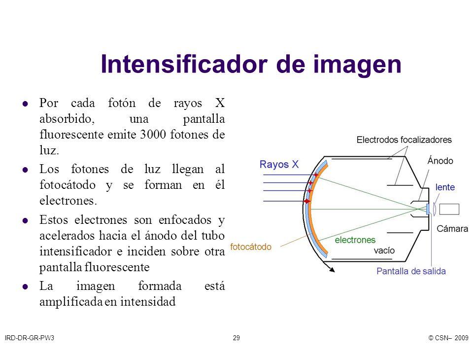 IRD-DR-GR-PW3© CSN– 200929 Intensificador de imagen Por cada fotón de rayos X absorbido, una pantalla fluorescente emite 3000 fotones de luz.
