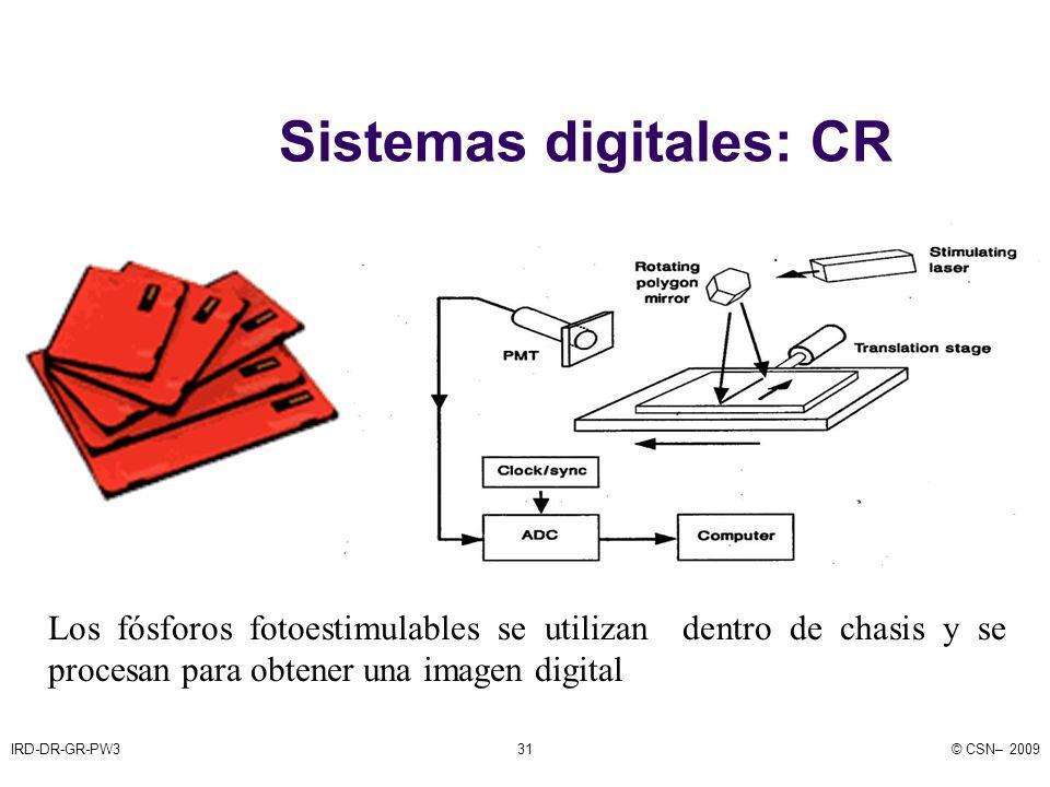 IRD-DR-GR-PW3© CSN– 200931 Sistemas digitales: CR Los fósforos fotoestimulables se utilizan dentro de chasis y se procesan para obtener una imagen digital
