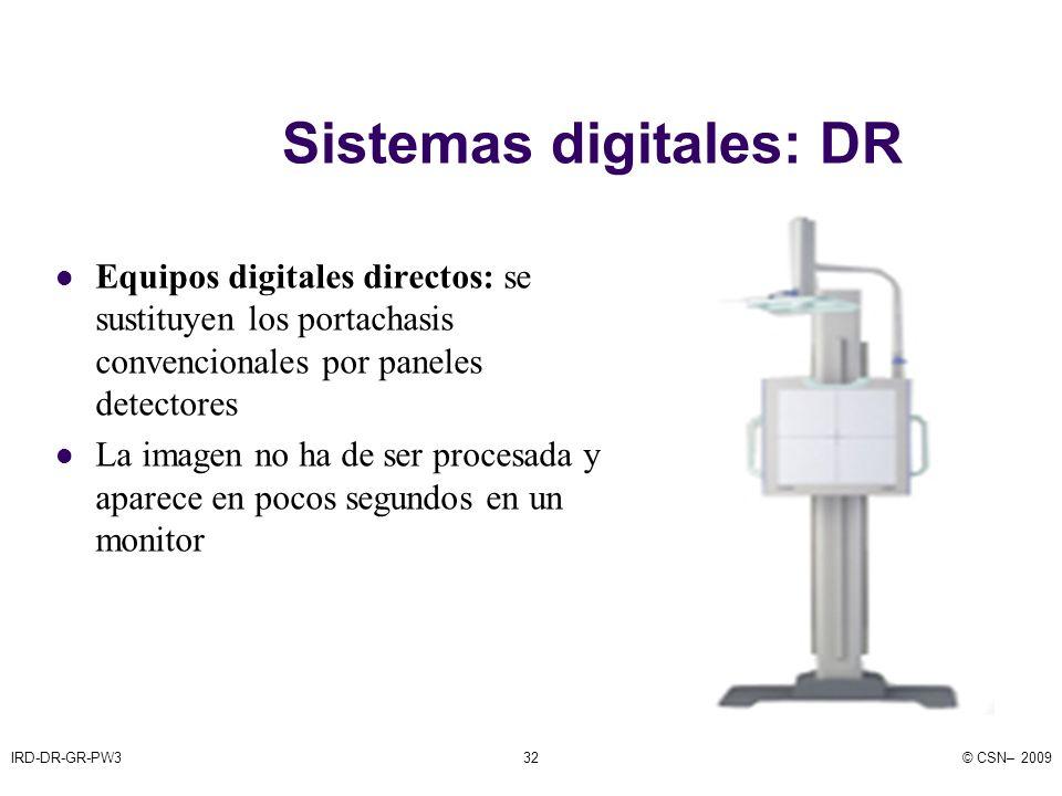 IRD-DR-GR-PW3© CSN– 200932 Sistemas digitales: DR Equipos digitales directos: se sustituyen los portachasis convencionales por paneles detectores La imagen no ha de ser procesada y aparece en pocos segundos en un monitor