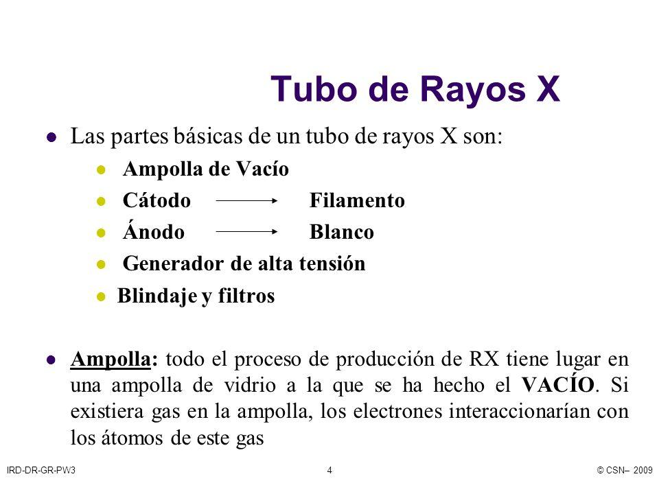 IRD-DR-GR-PW3© CSN– 20094 Tubo de Rayos X Las partes básicas de un tubo de rayos X son: Ampolla de Vacío Cátodo Filamento Ánodo Blanco Generador de alta tensión Blindaje y filtros Ampolla: todo el proceso de producción de RX tiene lugar en una ampolla de vidrio a la que se ha hecho el VACÍO.