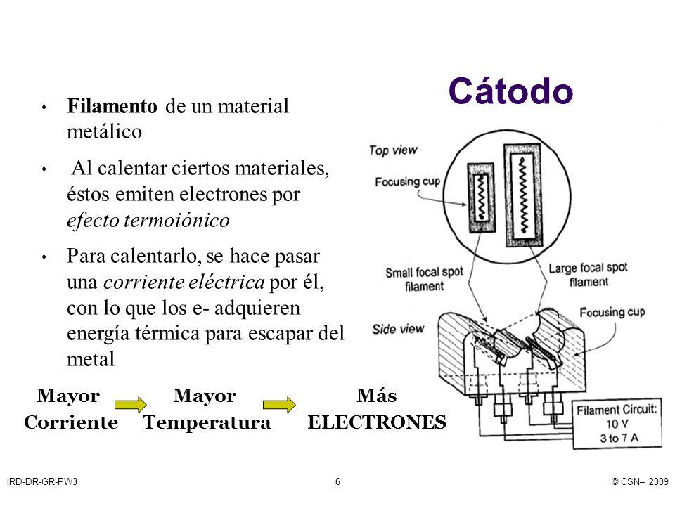 IRD-DR-GR-PW3© CSN– 20097 ¿Qué material utilizamos para el cátodo.