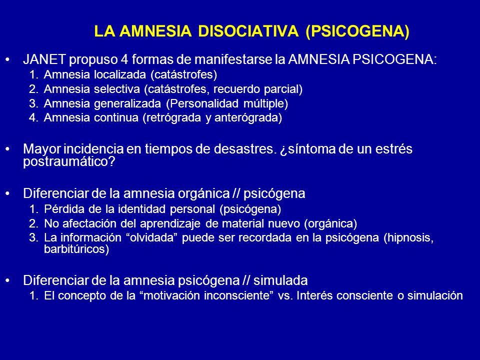 JANET propuso 4 formas de manifestarse la AMNESIA PSICOGENA: 1.Amnesia localizada (catástrofes) 2.Amnesia selectiva (catástrofes, recuerdo parcial) 3.