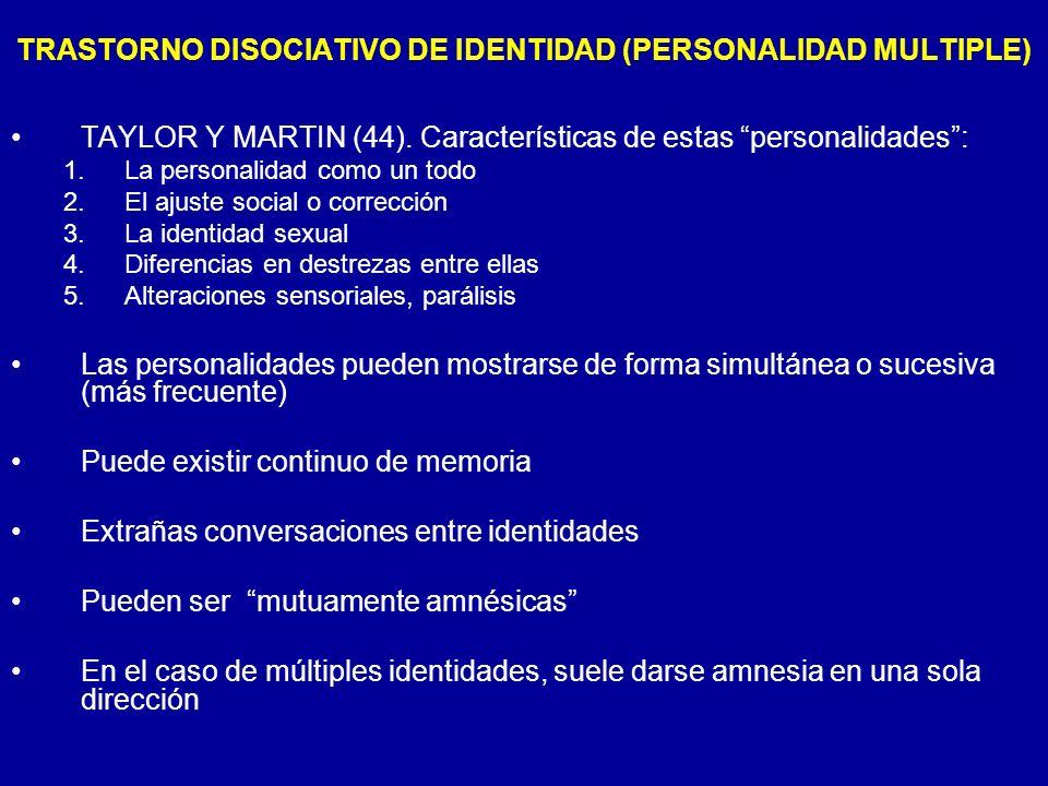 TAYLOR Y MARTIN (44). Características de estas personalidades: 1.La personalidad como un todo 2.El ajuste social o corrección 3.La identidad sexual 4.