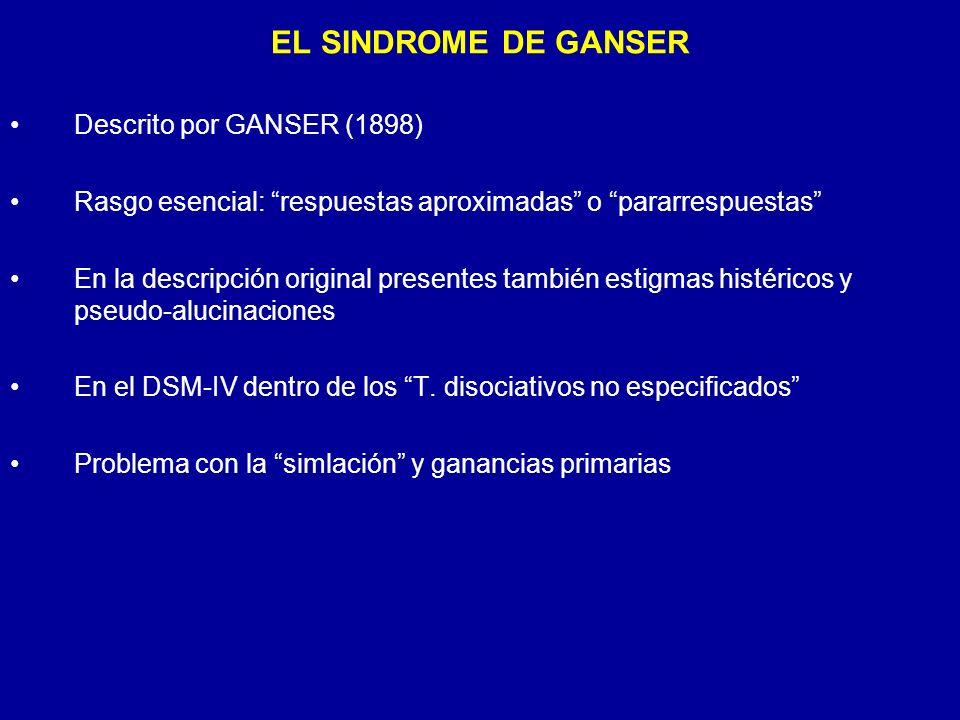 EL SINDROME DE GANSER Descrito por GANSER (1898) Rasgo esencial: respuestas aproximadas o pararrespuestas En la descripción original presentes también