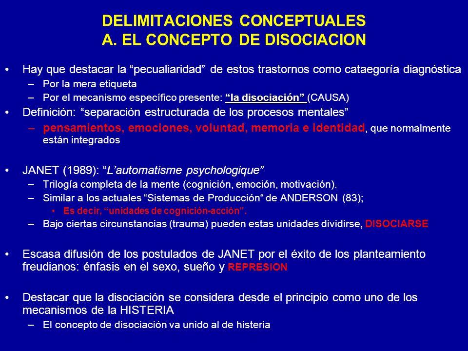 DELIMITACIONES CONCEPTUALES A. EL CONCEPTO DE DISOCIACION Hay que destacar la pecualiaridad de estos trastornos como cataegoría diagnóstica –Por la me