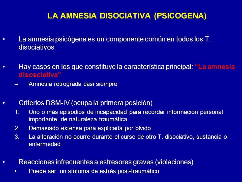 La amnesia psicógena es un componente común en todos los T. disociativos Hay casos en los que constituye la característica principal: La amnesia disos