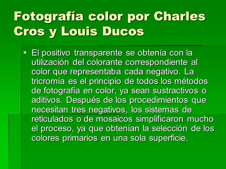 Fotografía color por Charles Cros y Louis Ducos El positivo transparente se obtenía con la utilización del colorante correspondiente al color que repr
