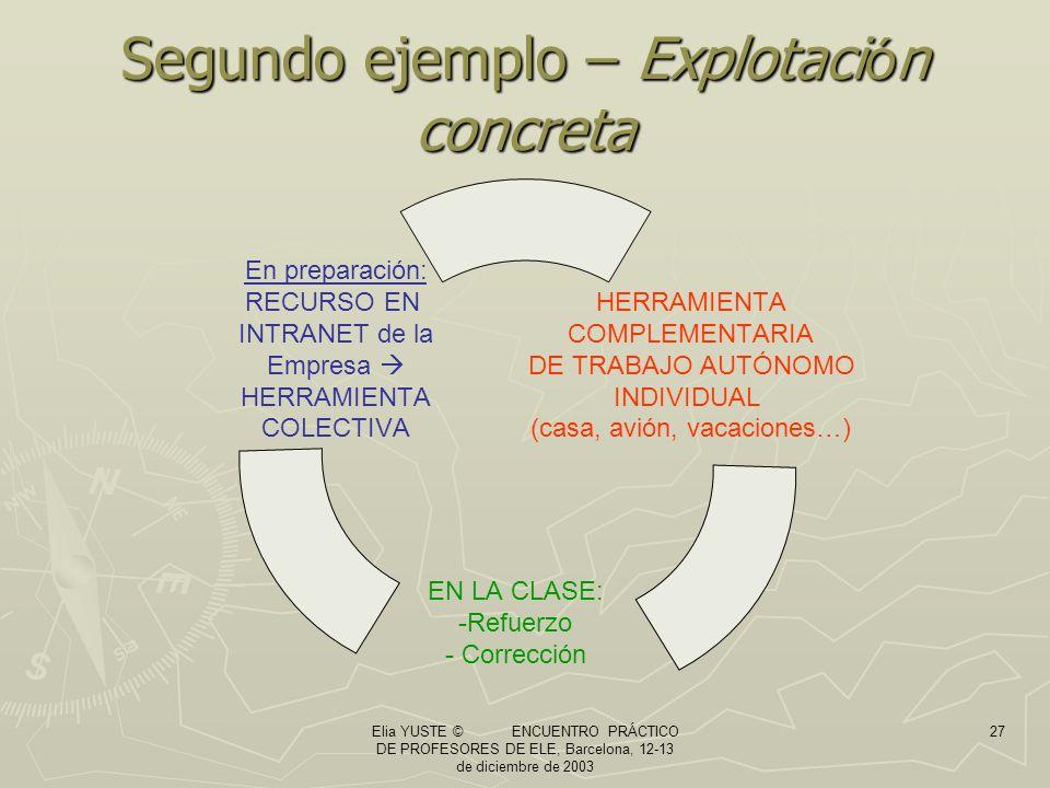 Elia YUSTE © ENCUENTRO PRÁCTICO DE PROFESORES DE ELE, Barcelona, 12-13 de diciembre de 2003 27 Segundo ejemplo – Explotaci ó n concreta HERRAMIENTA COMPLEMENTARIA DE TRABAJO AUTÓNOMO INDIVIDUAL (casa, avión, vacaciones…) EN LA CLASE: Refuerzo Corrección En preparación: RECURSO EN INTRANET de la Empresa HERRAMIENTA COLECTIVA