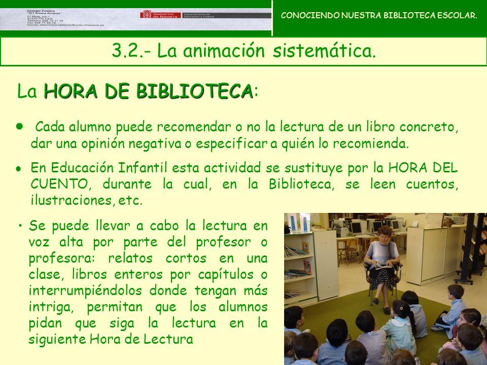 CONOCIENDO NUESTRA BIBLIOTECA ESCOLAR. 3.2.- La animación sistemática.