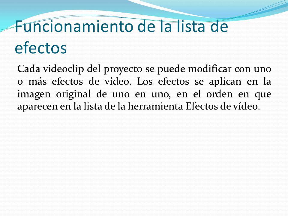 Funcionamiento de la lista de efectos Cada videoclip del proyecto se puede modificar con uno o más efectos de vídeo.