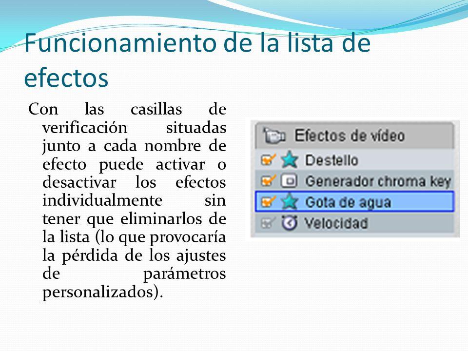 Adición y eliminación de efectos Para añadir un efecto a la lista del clip actual, haga clic en el botón Añadir nuevo efecto, que abre un explorador de efectos en el lado derecho de la ventana de la herramienta.