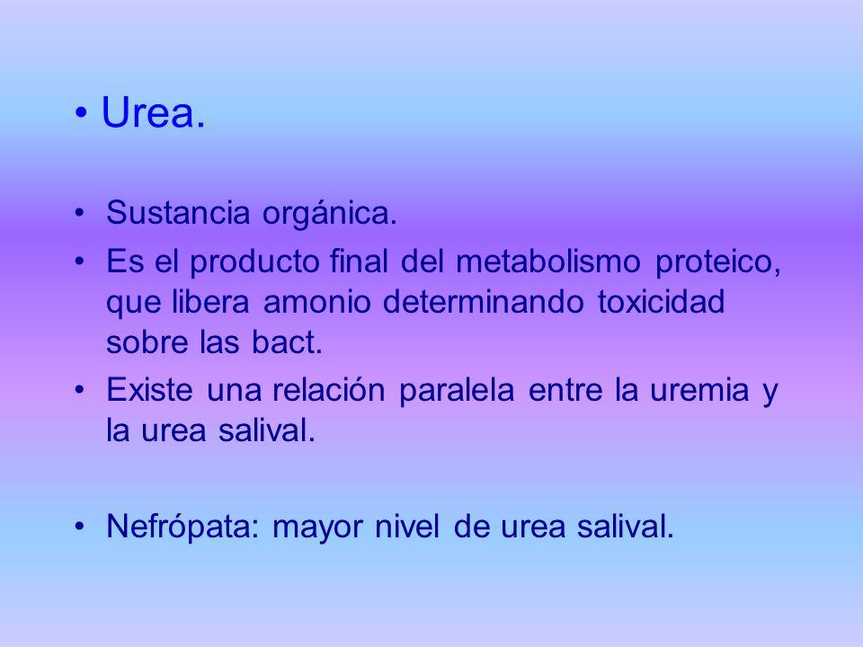 Urea. Sustancia orgánica. Es el producto final del metabolismo proteico, que libera amonio determinando toxicidad sobre las bact. Existe una relación