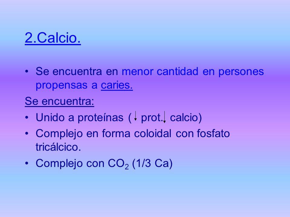 2.Calcio. Se encuentra en menor cantidad en persones propensas a caries. Se encuentra: Unido a proteínas ( prot. calcio) Complejo en forma coloidal co