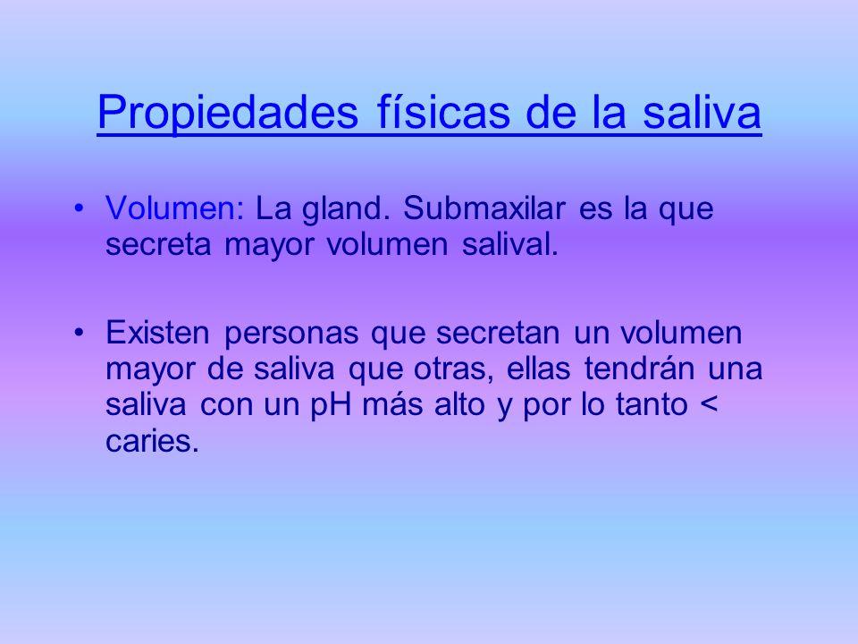 Propiedades físicas de la saliva Volumen: La gland. Submaxilar es la que secreta mayor volumen salival. Existen personas que secretan un volumen mayor