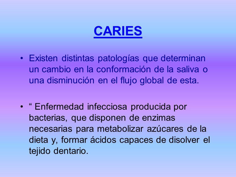 CARIES Existen distintas patologías que determinan un cambio en la conformación de la saliva o una disminución en el flujo global de esta. Enfermedad