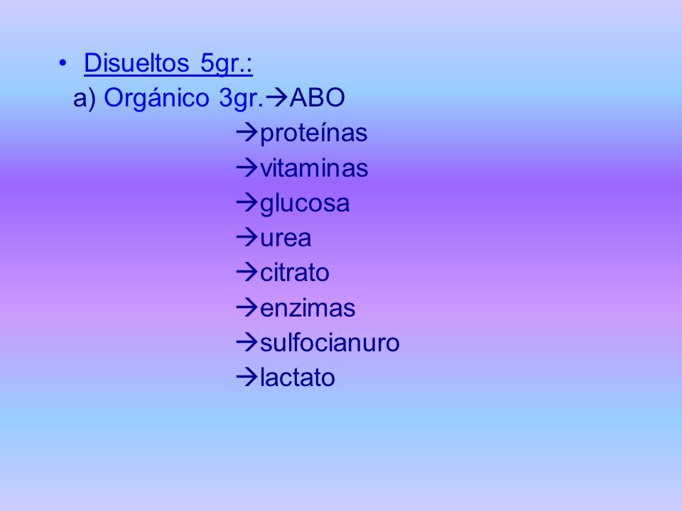 Disueltos 5gr.: a) Orgánico 3gr. ABO proteínas vitaminas glucosa urea citrato enzimas sulfocianuro lactato