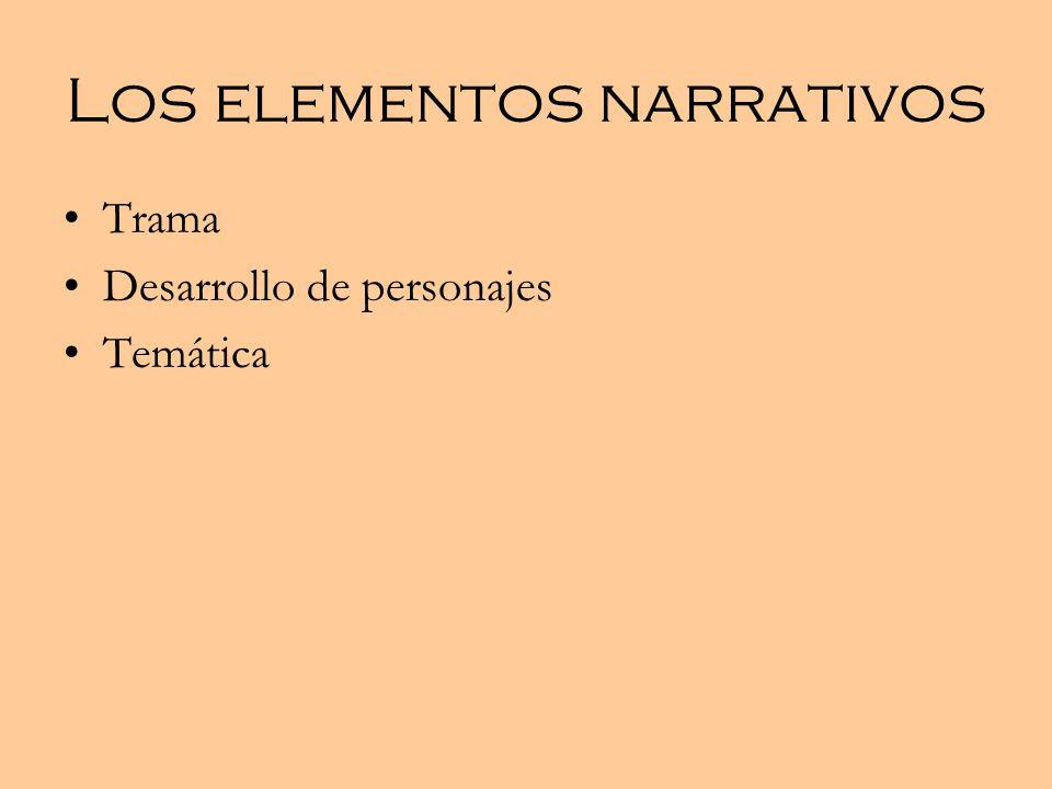 Los elementos narrativos Trama Desarrollo de personajes Temática