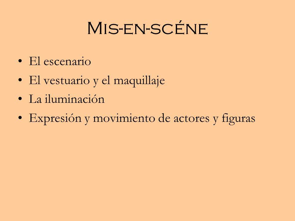 Mis-en-scéne El escenario El vestuario y el maquillaje La iluminación Expresión y movimiento de actores y figuras