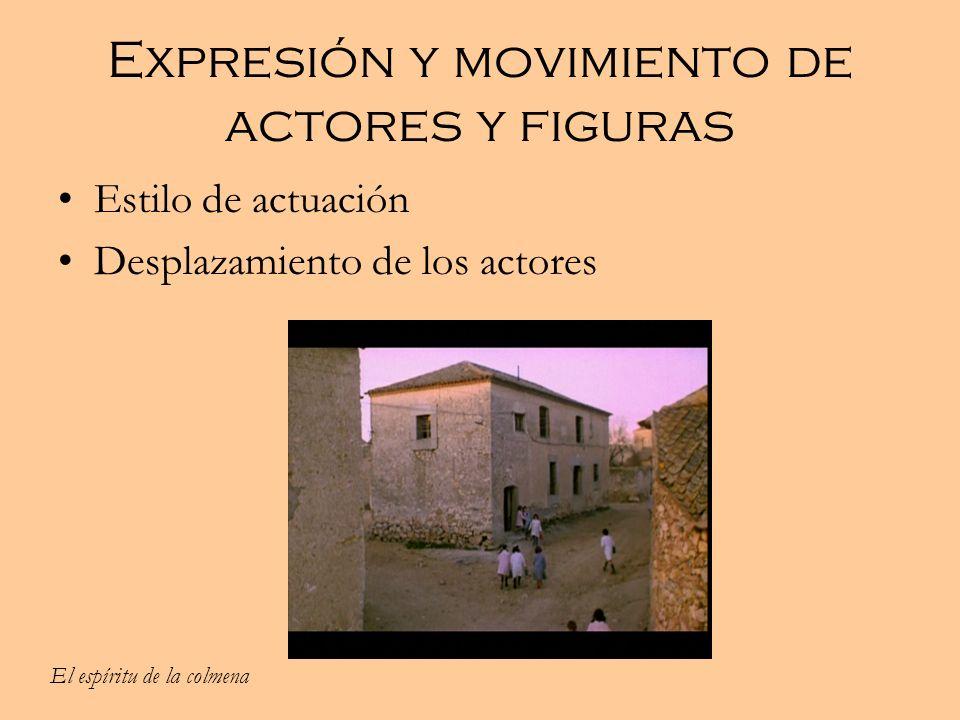 Expresión y movimiento de actores y figuras Estilo de actuación Desplazamiento de los actores El espíritu de la colmena