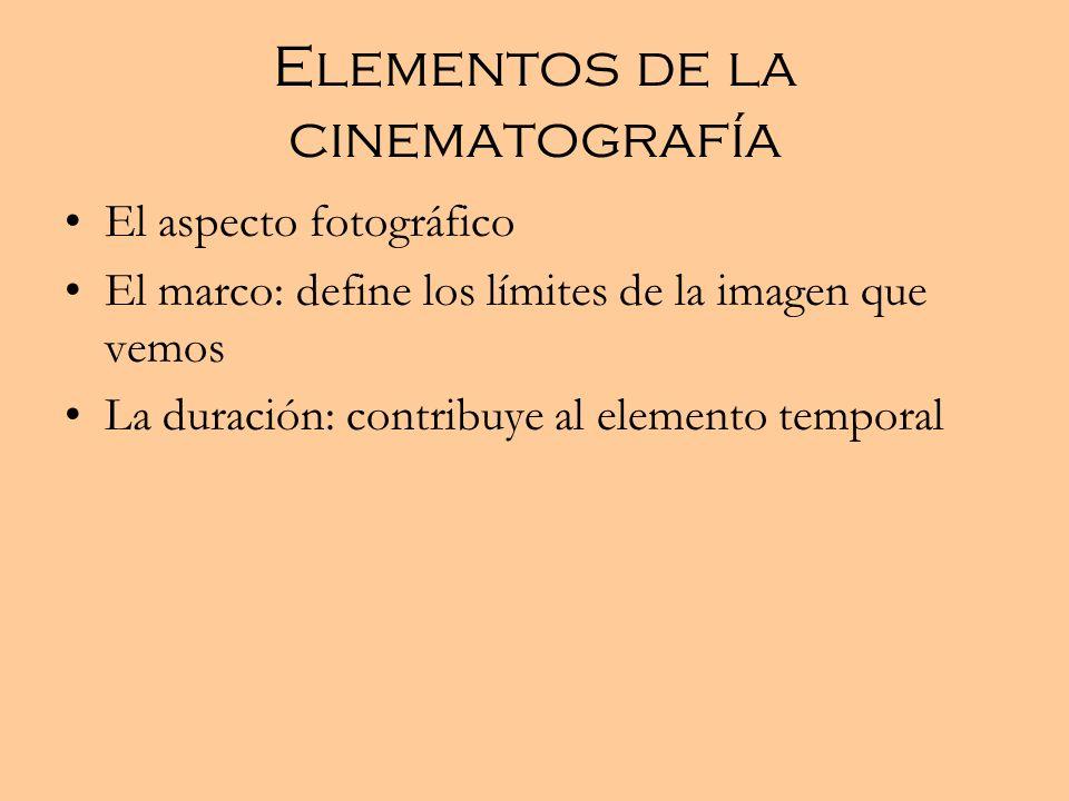 Elementos de la cinematografía El aspecto fotográfico El marco: define los límites de la imagen que vemos La duración: contribuye al elemento temporal