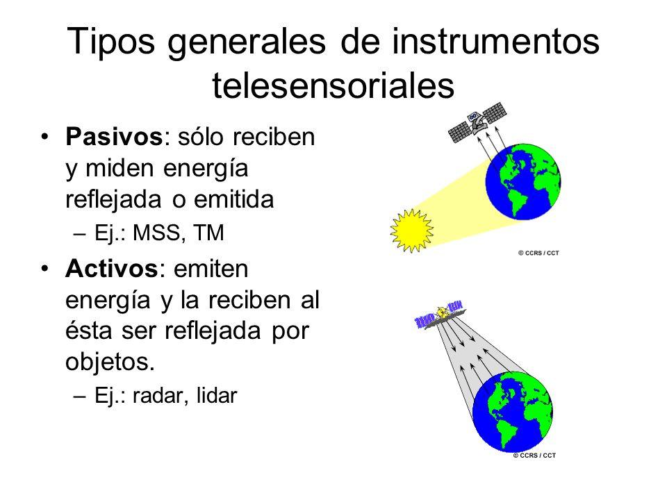 Tipos generales de instrumentos telesensoriales Pasivos: sólo reciben y miden energía reflejada o emitida –Ej.: MSS, TM Activos: emiten energía y la r