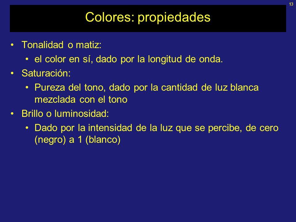 13 Colores: propiedades Tonalidad o matiz: el color en sí, dado por la longitud de onda.