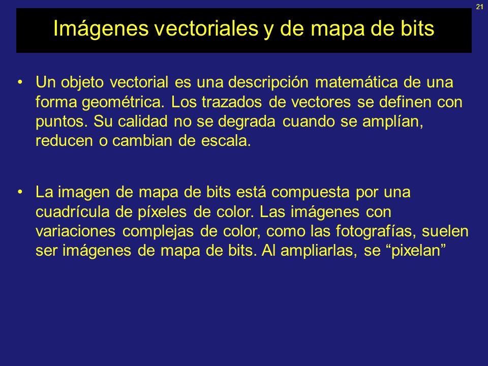21 Imágenes vectoriales y de mapa de bits Un objeto vectorial es una descripción matemática de una forma geométrica.
