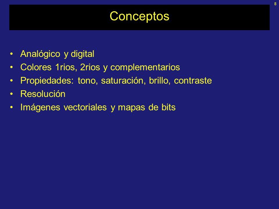 8 Conceptos Analógico y digital Colores 1rios, 2rios y complementarios Propiedades: tono, saturación, brillo, contraste Resolución Imágenes vectoriales y mapas de bits