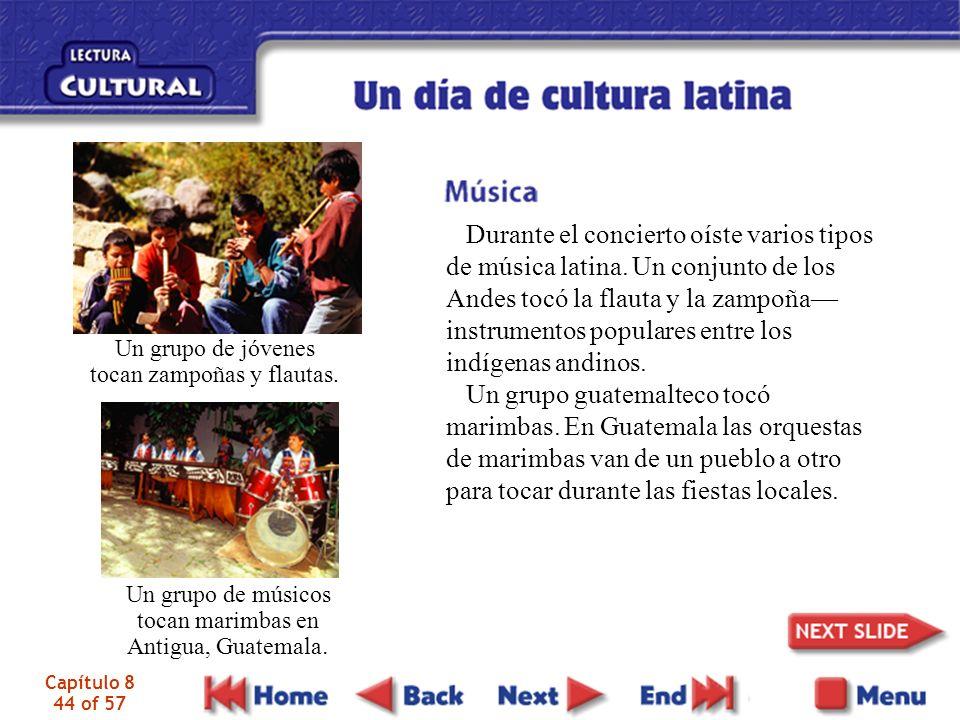 Capítulo 8 44 of 57 Durante el concierto oíste varios tipos de música latina.