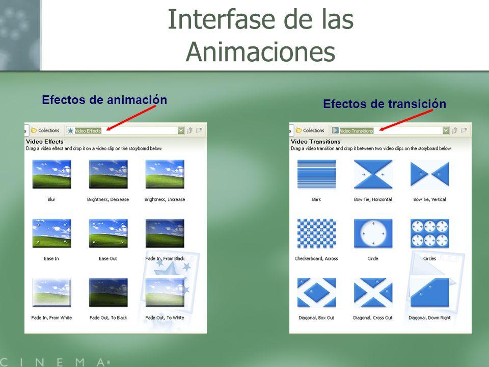 Efectos de animación Efectos de transición Interfase de las Animaciones
