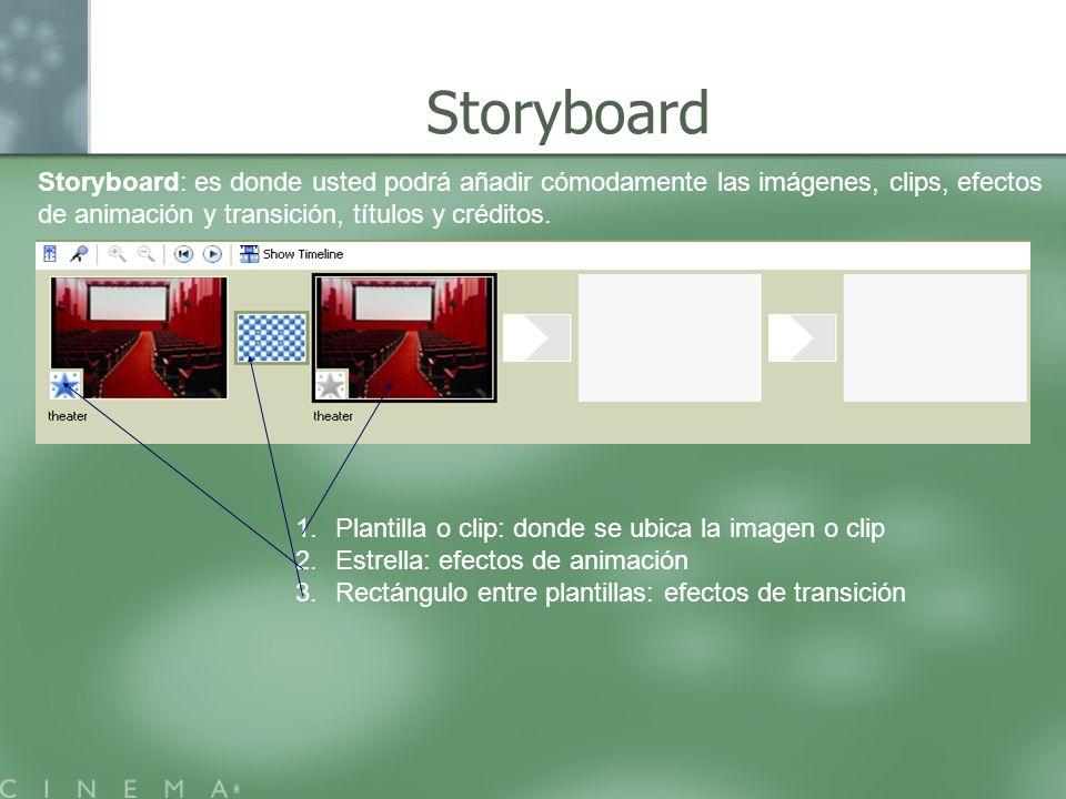 Storyboard: es donde usted podrá añadir cómodamente las imágenes, clips, efectos de animación y transición, títulos y créditos. 1.Plantilla o clip: do