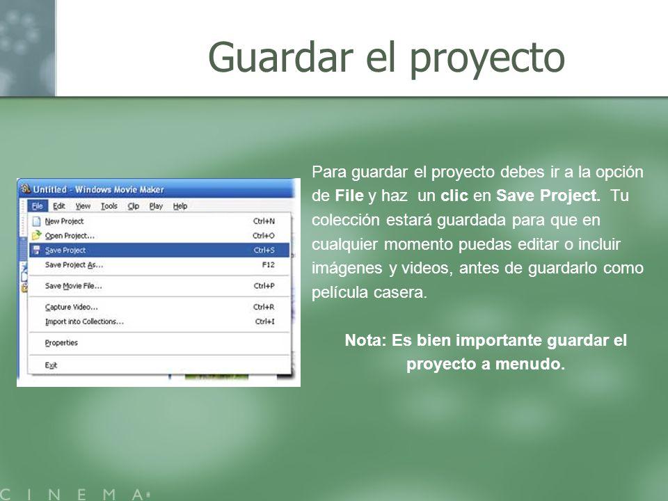 Guardar el proyecto Para guardar el proyecto debes ir a la opción de File y haz un clic en Save Project. Tu colección estará guardada para que en cual