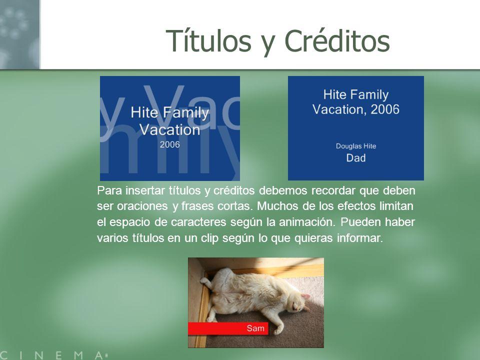Títulos y Créditos Para insertar títulos y créditos debemos recordar que deben ser oraciones y frases cortas. Muchos de los efectos limitan el espacio