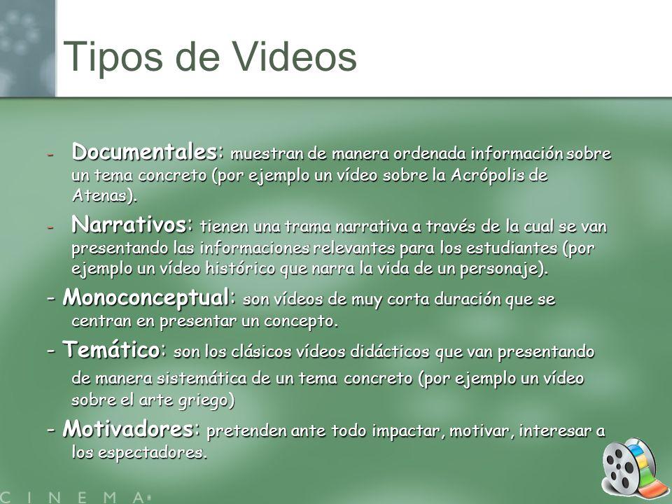 - Documentales: muestran de manera ordenada información sobre un tema concreto (por ejemplo un vídeo sobre la Acrópolis de Atenas). - Narrativos: tien