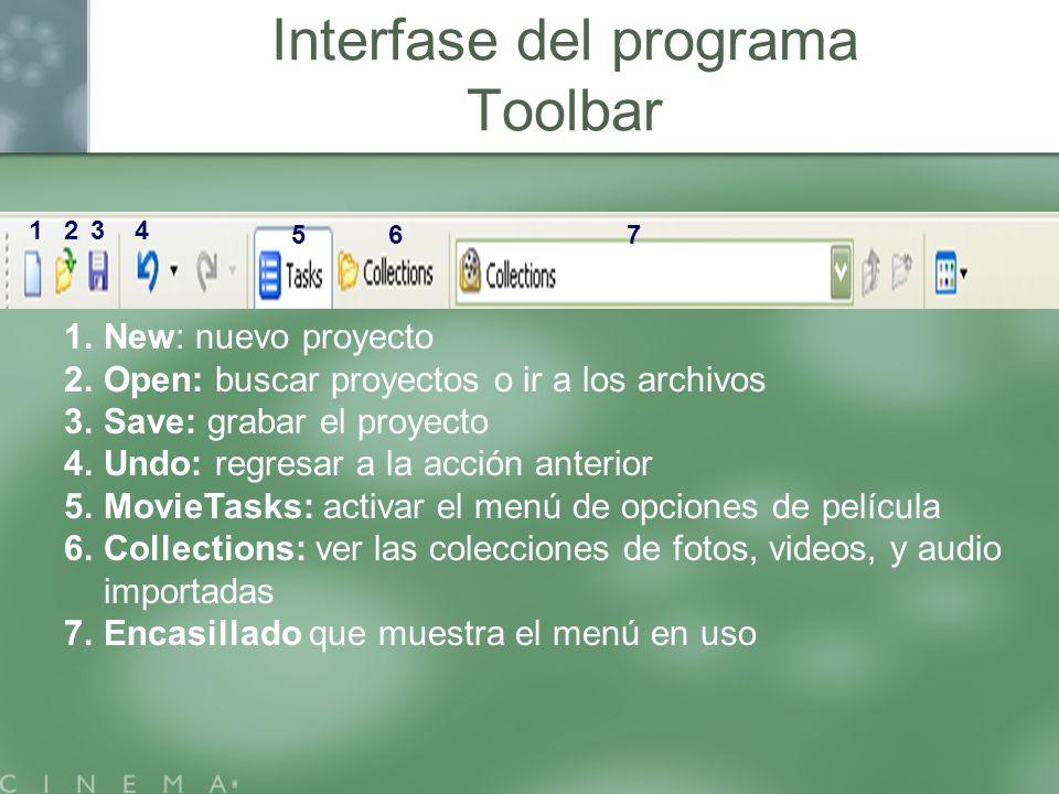 1.New: nuevo proyecto 2.Open: buscar proyectos o ir a los archivos 3.Save: grabar el proyecto 4.Undo: regresar a la acción anterior 5.MovieTasks: acti