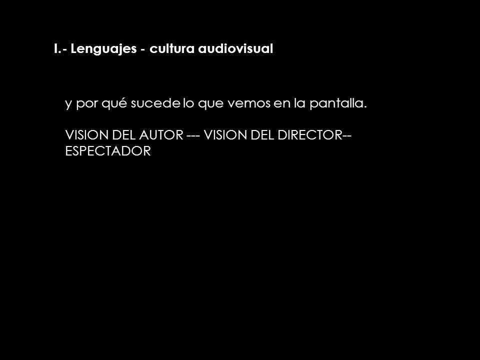 II.- Lenguajes - cultura audiovisual y por qué sucede lo que vemos en la pantalla. VISION DEL AUTOR --- VISION DEL DIRECTOR-- ESPECTADOR