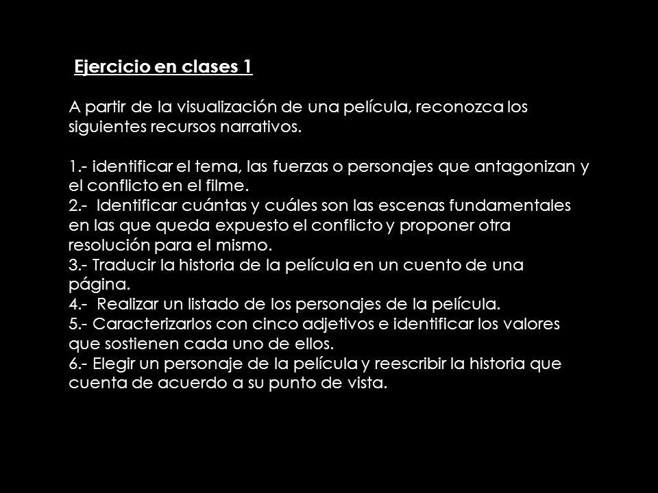 IEjercicio en clases 1 A partir de la visualización de una película, reconozca los siguientes recursos narrativos. 1.- identificar el tema, las fuerza