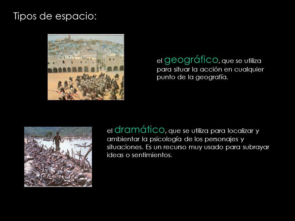 Tipos de espacio: el geográfico, que se utiliza para situar la acción en cualquier punto de la geografía. el dramático, que se utiliza para localizar