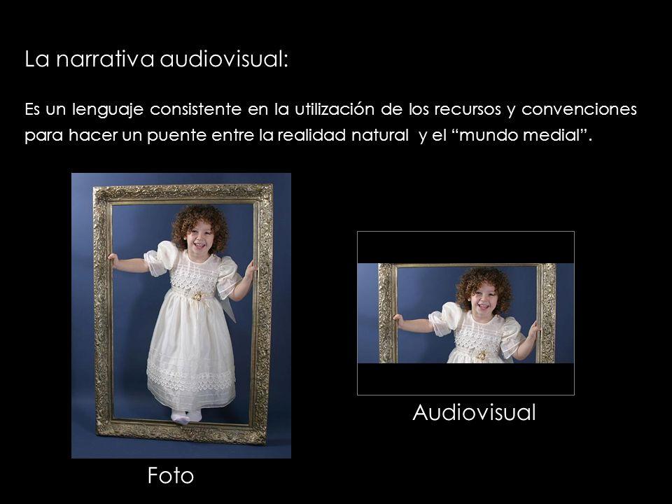 La narrativa audiovisual: Es un lenguaje consistente en la utilización de los recursos y convenciones para hacer un puente entre la realidad natural y