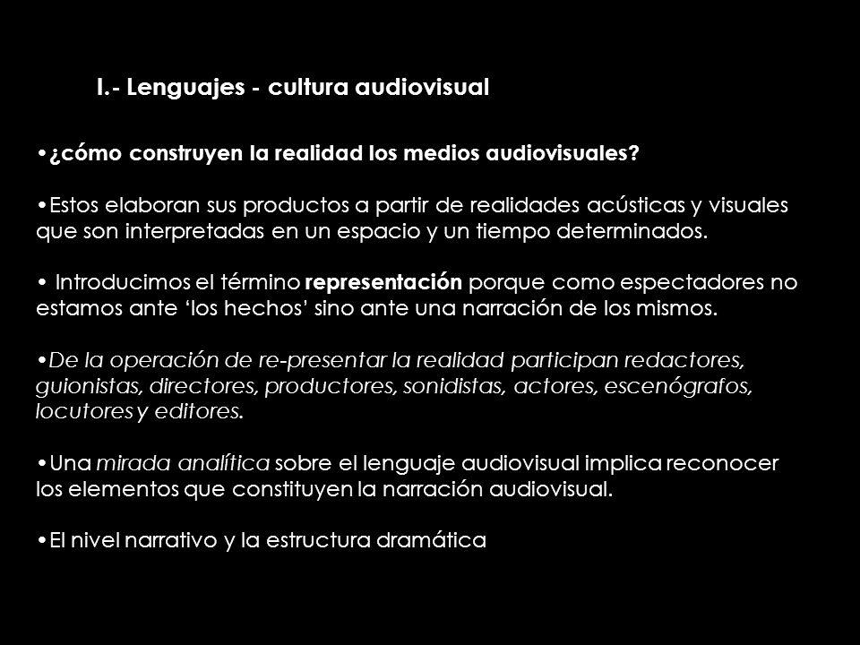 II.- Lenguajes - cultura audiovisual ¿cómo construyen la realidad los medios audiovisuales? Estos elaboran sus productos a partir de realidades acústi