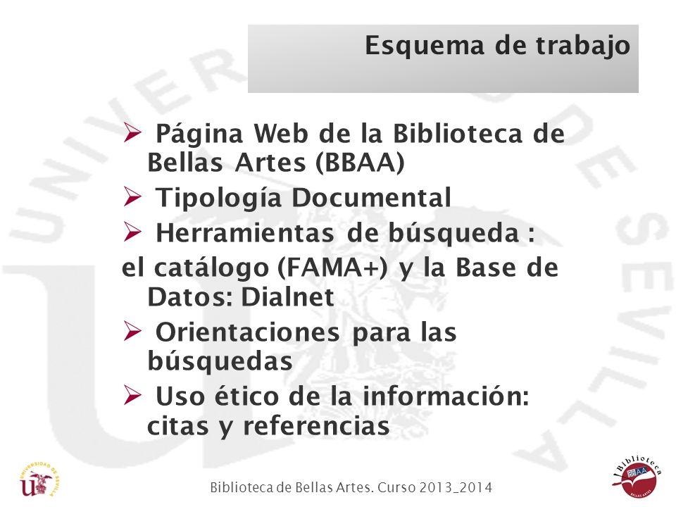 Biblioteca de Bellas Artes. Curso 2013_2014 Página Web de la Biblioteca de Bellas Artes (BBAA) Tipología Documental Herramientas de búsqueda : el catá