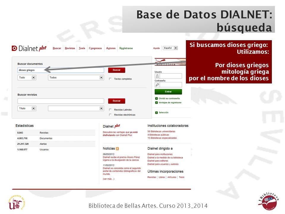 Biblioteca de Bellas Artes. Curso 2013_2014 Base de Datos DIALNET: búsqueda Si buscamos dioses griego: Utilizamos: Por dioses griegos mitología griega