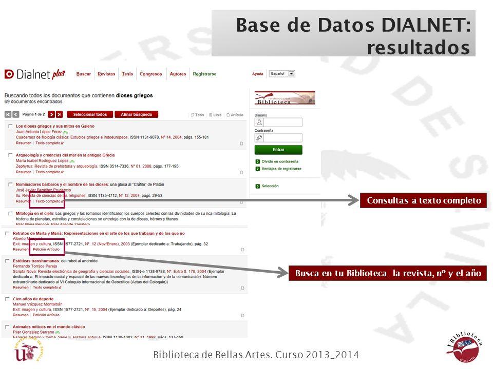 Biblioteca de Bellas Artes. Curso 2013_2014 Base de Datos DIALNET: resultados Consultas a texto completo Busca en tu Biblioteca la revista, nº y el añ