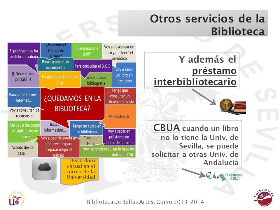 Biblioteca de Bellas Artes. Curso 2013_2014 Otros servicios de la Biblioteca Y además el préstamo interbibliotecario préstamo interbibliotecario CBUAC