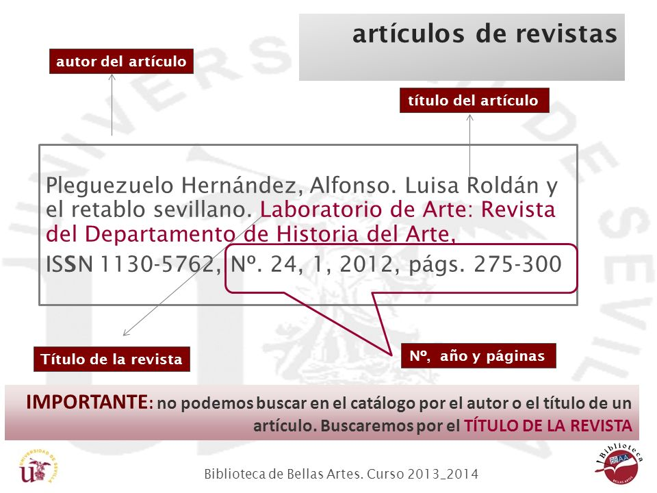 Biblioteca de Bellas Artes.Curso 2013_2014 artículos de revistas Pleguezuelo Hernández, Alfonso.