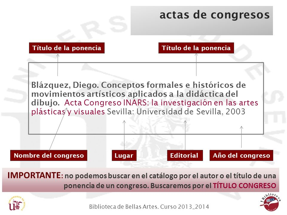 Biblioteca de Bellas Artes.Curso 2013_2014 actas de congresos Blázquez, Diego.