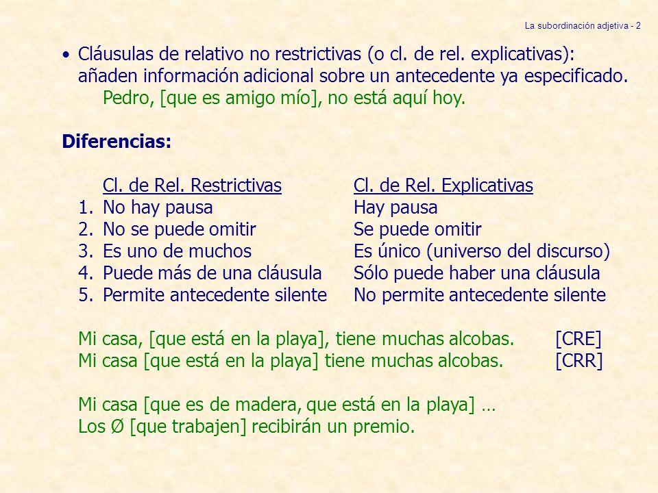 Cláusulas de relativo restrictivas: Hay 4 tipos, según la relación sintáctica entre el antecedente y la cláusula de relativo: 1.El antecedente es complemento de una preposición de la cláusula de relativo: La casa [en que vivo] no tiene piscina.