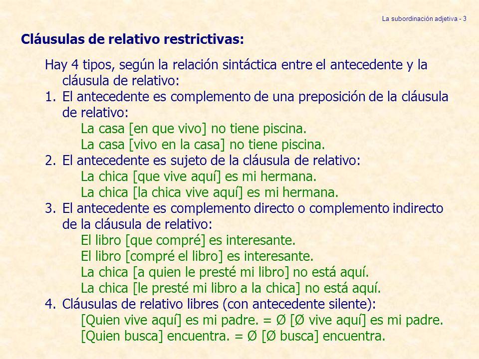 1.Cláusulas restrictivas con el antecedente como complemento de una preposición:Pronombre relativo que, quien, el cual reemplaza al antecedente dentro de la cláusula de relativo.El pronombre relativo sirve de nexo con el antecedente.Si el antecedente es [+HUMANO] se usa quien, el que, el cual.